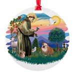St.Francis #2/ Eng Bull (W-Br Round Ornament