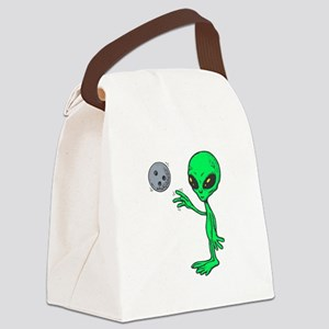 bowling alien copy Canvas Lunch Bag