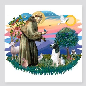 """St Francis #2/ Eng Spring Square Car Magnet 3"""" x 3"""