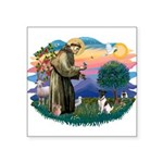 """St.Francis #2/ Fox Terrier Square Sticker 3"""""""
