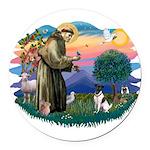 St.Francis #2/ Fox Terrier Round Car Magnet