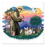 St.Francis #2/ Fr Bulldog (3) Square Car Magnet 3&