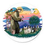 St.Francis #2/ Fr Bulldog (3) Round Car Magnet
