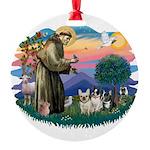 St.Francis #2/ Fr Bulldog (3) Round Ornament