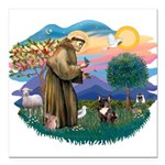 St.Francis #2/ Fr Bulldog (br Square Car Magnet 3&