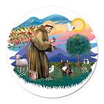 St.Francis #2/ Fr Bulldog (br Round Car Magnet