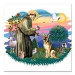St.Francis #2/ Ger Shep #2 Square Car Magnet 3&quo