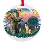 St.Francis #2/ Ger Shep #2 Round Ornament
