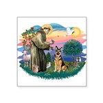 St.Francis #2/ Ger Shep (W) Square Sticker 3""