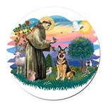 St.Francis #2/ Ger Shep (W) Round Car Magnet