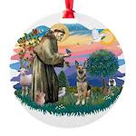 St.Francis #2/ German Shep (P Round Ornament