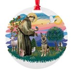 St.Francis #2/ German Shep (P Round Ornament