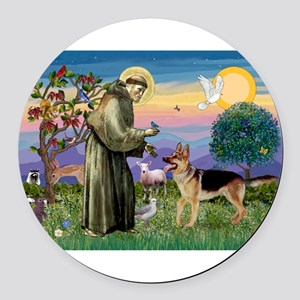 St Francis / G Shep Round Car Magnet