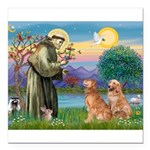 StFrancis-2Goldens Square Car Magnet 3