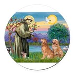 StFrancis-2Goldens Round Car Magnet