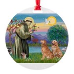 StFrancis-2Goldens Round Ornament