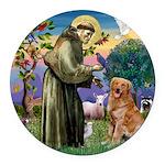 Saint Francis' Golden Round Car Magnet