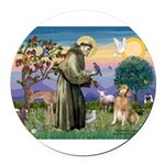 St Francis Golden Round Car Magnet