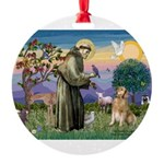 St Francis Golden Round Ornament