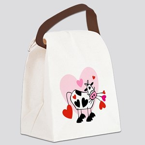valentines cow Canvas Lunch Bag