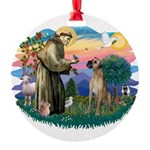 St.Fran. #2/ Great Dane (nat) Round Ornament