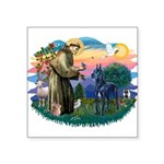 St.Francis #2/ Great Dane (bl Square Sticker 3&quo