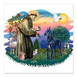 St.Francis #2/ Great Dane (bl Square Car Magnet 3&