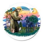 St.Francis #2/ Great Dane (bl Round Car Magnet