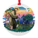 St.Francis #2/ Great Dane (bl Round Ornament