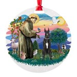 St.Fran. #2/ Great Dane (blk) Round Ornament