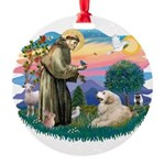 St.Francis #2/ Pyrenees#2 Round Ornament
