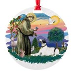 St.Francis #2/ Greyhound Round Ornament