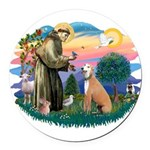St.Francis #2/ Greyhound Round Car Magnet