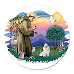 St.Francis #2/ Havanese (whit Round Car Magnet