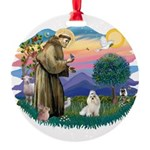 St.Francis #2/ Havanese (whit Round Ornament