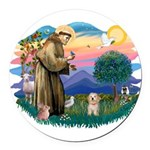 St.Fran. #2/ Havanese pup Round Car Magnet
