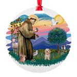 St.Fran. #2/ Havanese pup Round Ornament