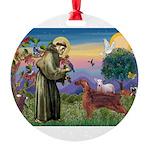 St. Fran./ Irish Setter Round Ornament