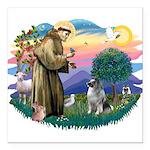 St Francis #2 / Keeshond Square Car Magnet 3