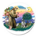 St Francis #2 / Keeshond Round Car Magnet