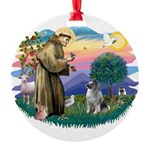 St Francis #2 / Keeshond Round Ornament