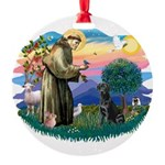 St.Francis #2 / Black Lab Round Ornament