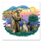 St.Francis #2/ Two Labradors Square Car Magnet 3&q