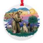 St.Francis #2/ Two Labradors Round Ornament