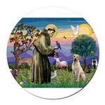 St Francis/Yellow Lab Round Car Magnet
