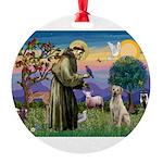 St Francis/Yellow Lab Round Ornament