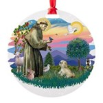 St.Francis #2 / Lhasa Apso (R Round Ornament