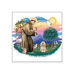 St.Francis #2/ Lhasa Apso (# Square Sticker 3&quot