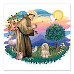 St.Francis #2/ Lhasa Apso (# Square Car Magnet 3&q
