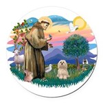 St.Francis #2/ Lhasa Apso (# Round Car Magnet